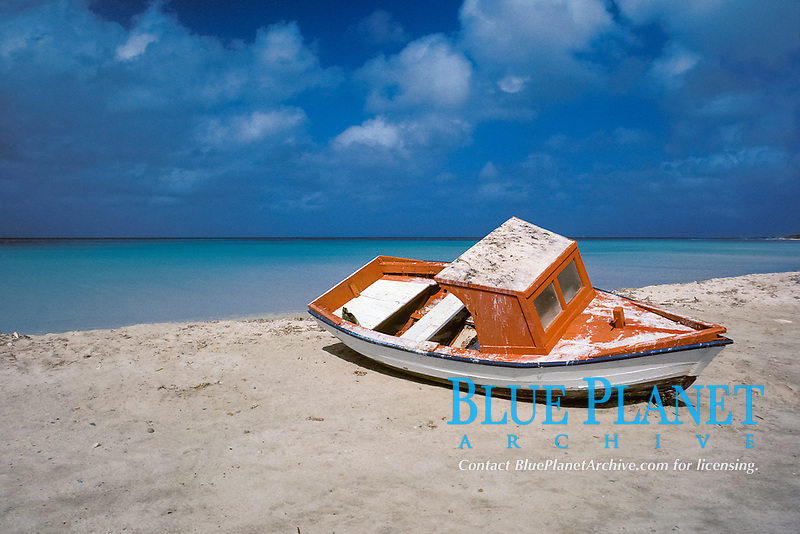 fishing dory on beach, Aruba, Netherlands Antilles (Dutch Caribbean or Dutch ABC Islands), Atlantic