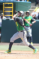 A.J. Balta #33 of the Oregon Ducks bats against the UCLA Bruins at Jackie Robinson Stadium on May 18, 2014 in Los Angeles, California. Oregon defeated UCLA, 5-4. (Larry Goren/Four Seam Images)