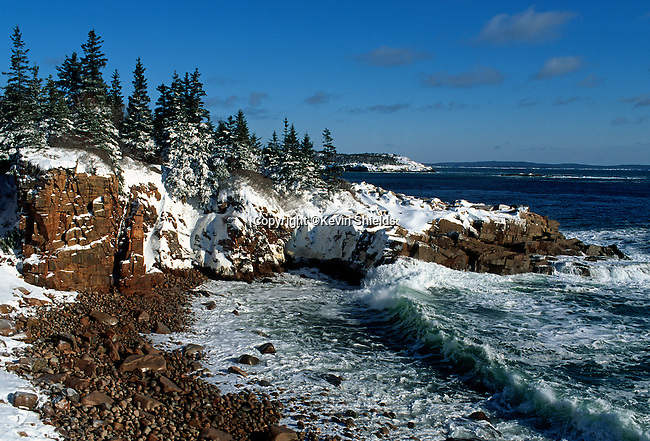 Winter at Monument Cove, Acadia National Park, Maine, USA