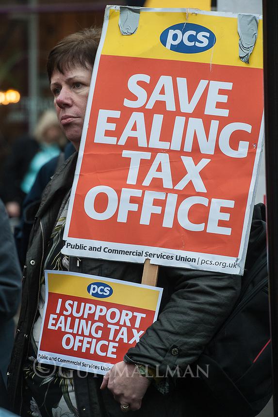 John McDonnel MP joins striking tax office workers in Ealing West London. 30-1-20