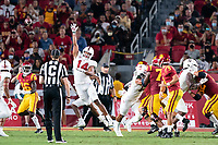 LOS ANGELES, CA - SEPTEMBER 11: Jacob Mangum-Farrar during a game between University of Southern California and Stanford Football at Los Angeles Memorial Coliseum on September 11, 2021 in Los Angeles, California.