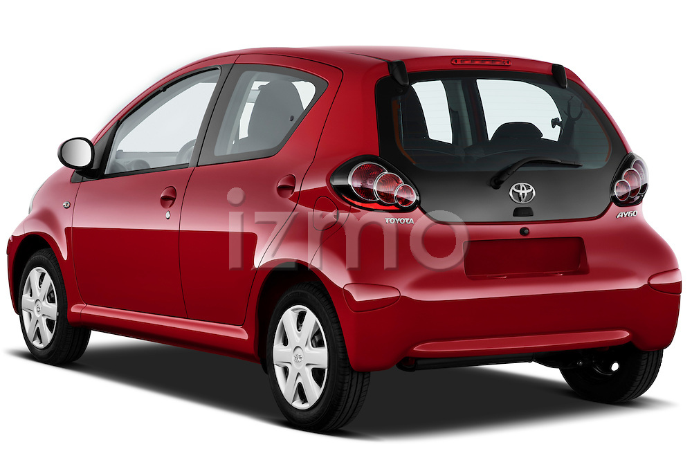 Rear three quarter view of a 2010 Toyota Aygo + 5 Door Microcar