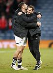 Dundee Utd manager Jackie McNamara celebrates with goalscorer Nadir Ciftci