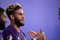 LAKE BUENA VISTA, FL - JULY 14: Dom Dwyer #14 of Orlando City SC celebrates a goal during a game between Orlando City SC and New York City FC at Wide World of Sports on July 14, 2020 in Lake Buena Vista, Florida.
