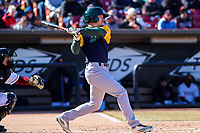 Beloit Snappers third baseman Jake Lumley (10) swings at a pitch during a Midwest League game against the Wisconsin Timber Rattlers on April 7, 2018 at Fox Cities Stadium in Appleton, Wisconsin. Beloit defeated Wisconsin 10-1. (Brad Krause/Four Seam Images)