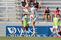 CARY, NC - SEPTEMBER 12: Olivia Moultrie #42 of the Portland Thorns FC settles the ball during a game between Portland Thorns FC and North Carolina Courage at Sahlen's Stadium at WakeMed Soccer Park on September 12, 2021 in Cary, North Carolina.