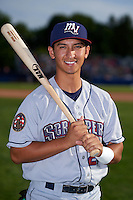 Mahoning Valley Scrappers second baseman Mark Mathias (29) poses for a photo before a game against the Batavia Muckdogs on July 3, 2015 at Dwyer Stadium in Batavia, New York.  Batavia defeated Mahoning Valley 7-4.  (Mike Janes/Four Seam Images)