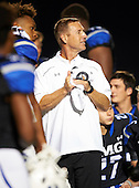 IMG Academy Ascenders head coach Kevin Wright address the team after a game St. Frances Academy Panthers on November 12, 2016 at IMG Academy in Bradenton, Florida.  IMG defeated St. Frances 38-0.  (Mike Janes Photography)