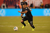 EAST RUTHERFORD, NJ - SEPTEMBER 7: Jesus Manuel Corona #17 of Mexico kicks the ball during a game between Mexico and USMNT at MetLife Stadium on September 6, 2019 in East Rutherford, New Jersey.