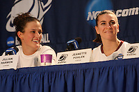 BERKELEY, CA - MARCH 30: Jillian Harmon and Jeanette Pohlen in the post-game press conference following Stanford's 74-53 win against the Iowa State Cyclones on March 30, 2009 at Haas Pavilion in Berkeley, California.
