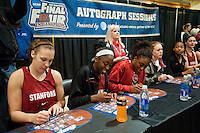 INDIANAPOLIS, IN - APRIL 2, 2011: Nnemkadi Ogwumike and Chiney Ogwumike during the post-practice autograph session at Conseco Fieldhouse at the NCAA Final Four in Indianapolis, IN on April 1, 2011.