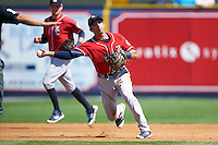 New Hampshire Fisher Cats third baseman Jason Leblebijian (8) throws to first base during a game against the Reading Fightin Phils on June 6, 2016 at FirstEnergy Stadium in Reading, Pennsylvania.  Reading defeated New Hampshire 2-1.  (Mike Janes/Four Seam Images)