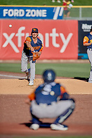 Las Vegas Aviators starting pitcher Parker Dunshee (29) warms up in the bullpen before the game against the Salt Lake Bees at Smith's Ballpark on July 20, 2019 in Salt Lake City, Utah. The Aviators defeated the Bees 8-5. (Stephen Smith/Four Seam Images)