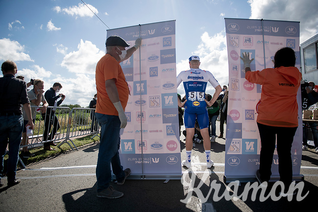 """race winner Florian Sénéchal (FRA/Deceuninck - QuickStep) """"backstage"""" in covid19-dominated times where podium ceremonies are minimalised & held fully 'in the open'<br /> <br /> the inaugural GP Vermarc 2020 is the very first pro cycling race in Belgium after the covid19 lockdown of Spring 2020 & which was only set up some weeks in advance to accommodate belgian teams by providing racing opportunities asap after the lockdown allowed for racing to restart (but still under strict quarantine / social distancing measures for the public, riders & press)<br /> <br /> Rotselaar (BEL), 5 july 2020<br /> ©kramon"""