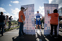 "race winner Florian Sénéchal (FRA/Deceuninck - QuickStep) ""backstage"" in covid19-dominated times where podium ceremonies are minimalised & held fully 'in the open'<br /> <br /> the inaugural GP Vermarc 2020 is the very first pro cycling race in Belgium after the covid19 lockdown of Spring 2020 & which was only set up some weeks in advance to accommodate belgian teams by providing racing opportunities asap after the lockdown allowed for racing to restart (but still under strict quarantine / social distancing measures for the public, riders & press)<br /> <br /> Rotselaar (BEL), 5 july 2020<br /> ©kramon"