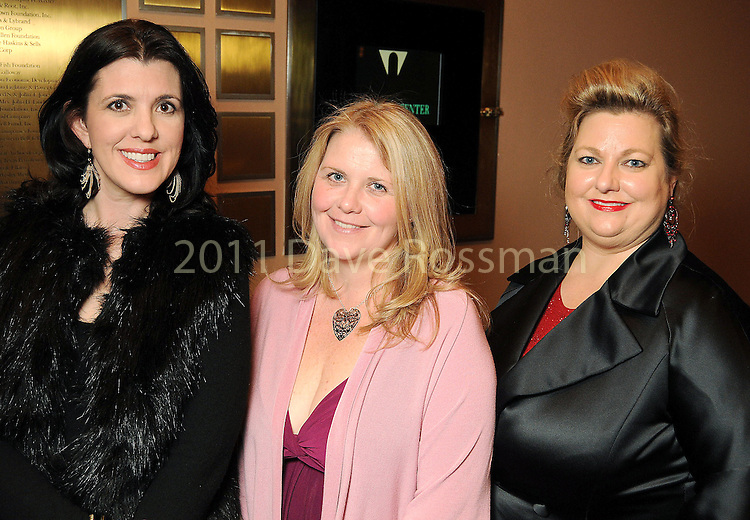 "From left: Kelly Provine, Mia Bering and Katrina Arnim at the ""A Knight in Verona"" benefitting Mercury Baroque at the Wortham Theater Friday Feb. 26,2010. (Dave Rossman Photo)"