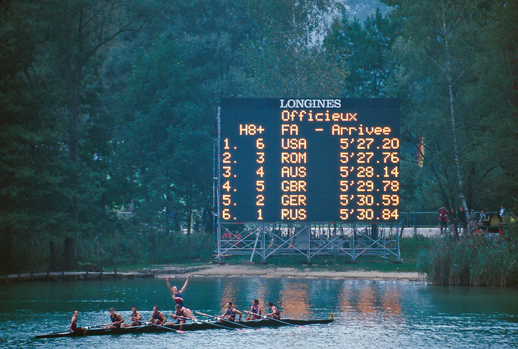 Rowing, FISA Rowing World Championships, Lac Aiguebelette,  France, Europe, United States men's eight winning gold and celebrating at the finish, 1997, Note MIke Wherley in 4 seat heading for a swim.