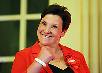 Pictured: Labour candidate for Gower constituency Tonia Antoniazzi celebrates her win as the results are announced.  Friday 09 June 2017<br />
