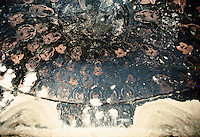 The ceiling of a temple next to the giant Buddha. Hundred of meditating Buddha are surrounding the main Buddha in the centre. Black Buddha are made with the Chinese technique of painting with lead.