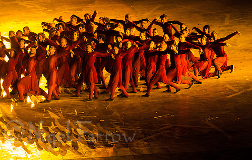 """27 JUL 2012 - LONDON, GBR - Dancers perform during the """"Abide with Me"""" section of the Opening Ceremony of the London 2012 Olympic Games in the Olympic Stadium in the Olympic Park, Stratford, London, Great Britain (PHOTO (C) 2012 NIGEL FARROW)"""