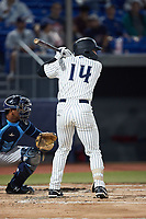 Elijah Dunham (14) of the Hudson Valley Renegades at bat against the Wilmington Blue Rocks at Dutchess Stadium on July 27, 2021 in Wappingers Falls, New York. (Brian Westerholt/Four Seam Images)