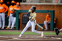 Vanderbilt Commodores center fielder Enrique Bradfield Jr. (51) at bat against the Tennessee Volunteers on Robert M. Lindsay Field at Lindsey Nelson Stadium on April 17, 2021, in Knoxville, Tennessee. (Danny Parker/Four Seam Images)