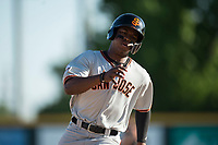 San Jose Giants second baseman Jalen Miller (2) rounds third base before scoring a run during a California League game against the Modesto Nuts at John Thurman Field on May 9, 2018 in Modesto, California. San Jose defeated Modesto 9-5. (Zachary Lucy/Four Seam Images)