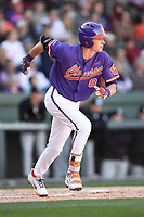Shortstop Logan Davidson (8) of the Clemson Tigers bats in the Reedy River Rivalry game against the South Carolina Gamecocks on Saturday, March 3, 2018, at Fluor Field at the West End in Greenville, South Carolina. Clemson won, 5-1. (Tom Priddy/Four Seam Images)