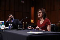 Former student of Judge Amy Coney Barrett, Laura Wolk and Professor Saikrishna Prakash participate in the confirmation hearing for Supreme Court nominee Judge Barrett before the Senate Judiciary Committee on Capitol Hill in Washington, DC, USA, 15 October 2020. Barrett was nominated by President Donald Trump to fill the vacancy left by Justice Ruth Bader Ginsburg who passed away in September.<br /> Credit: Shawn Thew / Pool via CNP /MediaPunch