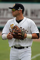 Charleston Riverdogs third baseman Dante Bichette, Jr. #19 before a game against the Delmarva Shorebirds at Joseph P. Riley Jr. Park on May 6, 2012 in Charleston, South Carolina. Charleston defeated Delmarva by the score of 8-2. (Robert Gurganus/Four Seam Images)