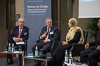 """BMZ-Konferenz """"Religion und die Agenda 2030 fuer nachhaltige Entwicklung"""".<br /> Vlnr: Prof. Dr. Klaus Toepfer, Bundesumweltminister a. D., ehem. Direktor des UN-Umweltschutzprogramms UNEP; Eric G. Postel, Associate Administrator, U.S. Agency for International Development (USAID), USA; Tawakkol Karman, Friedensnobelpreistraegerin (2011), Jemen.<br /> 17.2.2016, Berlin<br /> Copyright: Christian-Ditsch.de<br /> [Inhaltsveraendernde Manipulation des Fotos nur nach ausdruecklicher Genehmigung des Fotografen. Vereinbarungen ueber Abtretung von Persoenlichkeitsrechten/Model Release der abgebildeten Person/Personen liegen nicht vor. NO MODEL RELEASE! Nur fuer Redaktionelle Zwecke. Don't publish without copyright Christian-Ditsch.de, Veroeffentlichung nur mit Fotografennennung, sowie gegen Honorar, MwSt. und Beleg. Konto: I N G - D i B a, IBAN DE58500105175400192269, BIC INGDDEFFXXX, Kontakt: post@christian-ditsch.de<br /> Bei der Bearbeitung der Dateiinformationen darf die Urheberkennzeichnung in den EXIF- und  IPTC-Daten nicht entfernt werden, diese sind in digitalen Medien nach §95c UrhG rechtlich geschuetzt. Der Urhebervermerk wird gemaess §13 UrhG verlangt.]"""