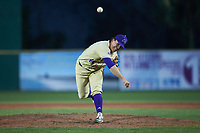 Western Carolina Catamounts relief pitcher Carson Lowder (44) delivers a pitch to the plate against the Saint Joseph's Hawks at TicketReturn.com Field at Pelicans Ballpark on February 23, 2020 in Myrtle Beach, South Carolina. The Hawks defeated the Catamounts 9-2. (Brian Westerholt/Four Seam Images)