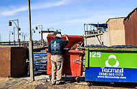 A May adult man of extreme poverty looks for food inside the junk contents tourist dock of Puerto Peñasco, Sonora, Mexico.<br /> (Photo: Luis Gutierrez /NortePhoto.com)<br /> Un hombre adulto mayo de pobreza extrema  busca comida dentro de los contenidos de basura muelle turístico de Puerto Peñasco, Sonora, Mexico.