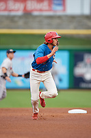 Clearwater Threshers Alec Bohm (40) leads off second base during a Florida State League game against the Lakeland Flying Tigers on May 14, 2019 at Spectrum Field in Clearwater, Florida.  Clearwater defeated Lakeland 6-3.  (Mike Janes/Four Seam Images)