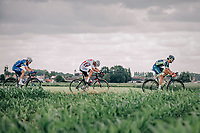 Mathieu Van der Poel (NED/Corendon Circus), Fabio Jakobsen (NED/Quick Step Floors) and Guillaume Van Keirsbulck (BEL/Wanty Groupe Gobert) in the break away group riding the cobbles.<br /> <br /> <br /> 2nd Elfstedenronde 2018<br /> 1 day race: Brugge - Brugge 196.3km