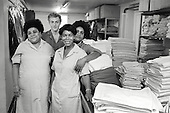 1983: laundry workers at St.Charles Hospital, Notting Hill, London.