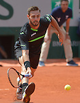 Marcel Granollers (ESP) loses to Roger Federer (SUI) 6-2, 7-6, 6-3 at  Roland Garros being played at Stade Roland Garros in Paris, France on May 27, 2015