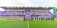 ORLANDO, FL - FEBRUARY 18: Brazil and Argentina line up on the field before a game between Argentina and Brazil at Exploria Stadium on February 18, 2021 in Orlando, Florida.