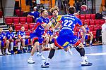Mitte: Fabian Schlaich (HSG Konstanz #3) ; re: Jona Scott (HBW Balingen #22) ; li: Romas Kirveliavicius (HBW Balingen #5) beim Spiel HSG Konstanz – HBW Balingen-Weilstetten beim BGV Handball Cup 2020.<br /> <br /> Foto © PIX-Sportfotos *** Foto ist honorarpflichtig! *** Auf Anfrage in hoeherer Qualitaet/Aufloesung. Belegexemplar erbeten. Veroeffentlichung ausschliesslich fuer journalistisch-publizistische Zwecke. For editorial use only.