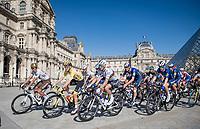 Entry of the peloton onto the Champs-Elysées circuit via the famous Louvre Museum with yellow jersey / GC leader Tadej Pogacar (SVN/UAE-Emirates) flanked by World Champion Julian Alaphilippe (FRA/Deceuninck - QuickStep) & Olympic Champion Greg Van Avermaet (BEL/AG2R Citroën).<br /> <br /> Stage 21 (Final) from Chatou to Paris - Champs-Élysées (108km)<br /> 108th Tour de France 2021 (2.UWT)<br /> <br /> ©kramon