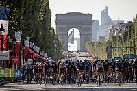 Team Deceuninck - QuickStep pacing the peloton in front of the Arc de Triomphe<br /> <br /> Stage 21 (Final) from Chatou to Paris - Champs-Élysées (108km)<br /> 108th Tour de France 2021 (2.UWT)<br /> <br /> ©kramon