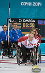 Dennis Thiessen, Sochi 2014 - Wheelchair Curling // Curling en fauteuil roulant.<br /> Canada takes on Finland in Wheelchair Curling // Le Canada affronte la Finlande au curling en fauteuil roulant. 13/03/2014.