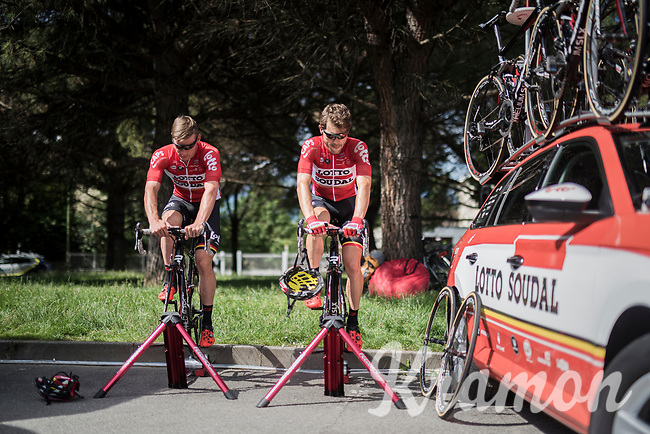 Maxime Monfort (BEL/Lotto-Soudal) & Moreno Hofland (NED/Lotto-Soudal) warming up on the rollers at the stage start<br /> <br /> Stage 17: Tirano › Canaze (219km)<br /> 100th Giro d'Italia 2017