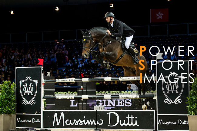 Marco Kutscher on Van Gogh competes during competition Table A Against the Clock at the Longines Masters of Hong Kong on 19 February 2016 at the Asia World Expo in Hong Kong, China. Photo by Li Man Yuen / Power Sport Images