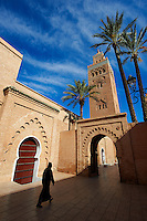 The Koutoubia Mosque completed 1199 with a square Berber minaret, Marrakesh, Morroco