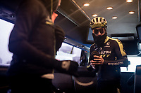 Adam Yates (GBR/Mitchelton-Scott) prepping himself for the grim day ahead <br /> <br /> 105th Liège-Bastogne-Liège 2019 (1.UWT)<br /> One day race from Liège to Liège (256km)<br /> <br /> ©kramon