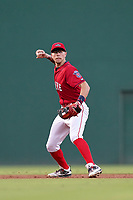 Shortstop Christian Koss (8) of the Greenville Drive in a game against the Hickory Crawdads on Friday, August 27, 2021, at Fluor Field at the West End in Greenville, South Carolina. (Tom Priddy/Four Seam Images)