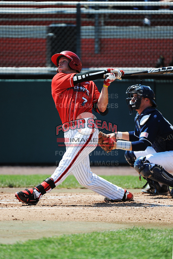 St. John's University Redstorm outfielder Martin Kelly (7) during game against the University of Notre Dame Fighting Irish at Jack Kaiser Stadium on May 12, 2013 in Queens, New York. St. John's defeated Notre Dame 2-1.      . (Tomasso DeRosa/ Four Seam Images)