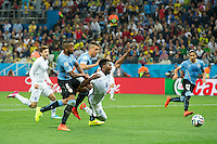 Daniel Sturridge of England is brought down in the area but no penalty is awarded