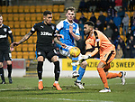 St Johnstone v Rangers…27.02.18…  McDiarmid Park    SPFL<br />Wes Foderingham gets to the ball ahead of Jason Kerr<br />Picture by Graeme Hart. <br />Copyright Perthshire Picture Agency<br />Tel: 01738 623350  Mobile: 07990 594431